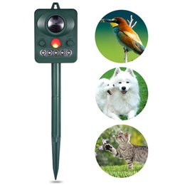 Wholesale Ultrasonic Detectors - Solar Power Ultrasonic Outdoor Solar Power Ultrasonic Dog Cat Repeller Infrared Sensor Animal Birds Chaser Repellers With Infrared Detector