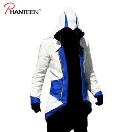 Wholesale Connor Kenway Costume - Wholesale- Assassins Creed 3 III Connor Kenway Edward Men Hoodie Jacket Costume Video Game Cosplay Novelty Patchwork Overcoat Plus Size 5XL