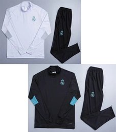 Wholesale New Train Sets - New Real Madrids white soccer tracksuits high collar hoody thai quality sets full sleeve football suit black winter sportswear training kits