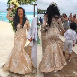 Wholesale Tulle Corset Bling - 2017 Newest Beach Champagne Lace Long Sleeve Corset Wedding Dresses Vintage Crew Plus Size Bling Arabic Style Bridal Gowns Custom Made