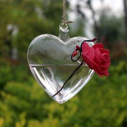 Vetro chiaro cuore appeso vaso bottiglia terrario contenitore pianta vaso fiore fai da te casa matrimonio giardino arredamento da vasi di fiori in vetro appesi fornitori
