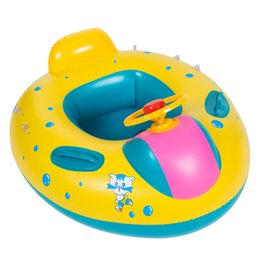 Wholesale Shape Fun - Portable Inflatable Baby Kids Shade Float Safety Swimming Ring Water Fun Pool Toys Car Shaped Seat Boat Water Sport With Sun Hat