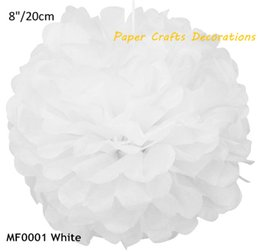 Wholesale Hanging Paper Flower - Wholesale-8inch(20cm) 5pcs lot Round White DIY Tissue Paper Pom Poms Flower Hanging Wedding Baby Bridal Showers Birthday Party Decorations