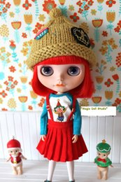 Wholesale Dolls Clothes Bjd - [MG290]Free Shipping Doll Outfits # Red Corduroy Suspender Skirt for neoblythe doll clothes making BJD doll dress