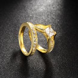 Canada Top Qualité Mode Zircon Titanium Acier Femmes Anneaux Couples Bague de Fiançailles Or Cristal De Mariage Bijoux Amour Bague De Mode bijoux Cadeaux Offre