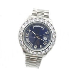 Wholesale Crystal Bezel Watch - 2017 New President Mens Watch Sapphire Glass 43MM Big Diamonds Bezel Crystal Number Silver Automatic Movement Stainless Steel Original Clasp