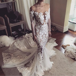 Wholesale Fall Skirt - 2017 Vintage Wedding Dresses Off the Shoulder Lace Appliques Sheer Bodice Long Sleeves Tiered Skirts Mermaid Elegant Country Bridal Gowns