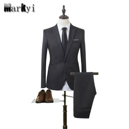 Wholesale Cheap Fashion Suits For Mens - Wholesale- MarKyi 2017 fashion mens wedding suits plus size 3xl singer button cheap suits for men slim fit mens tuxedo (jacket+pant)