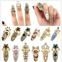 Wholesale Alloy Nail Art Mixed - Hot !Fashion Rhinestone Cute Bowknot Finger Nail Ring Charm Crown Flower Crystal Female Personality Nail Art Rings