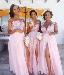 Wholesale Baby Pink Bridesmaids Dresses - Baby Pink Sheer Jewel Neck Cheap Bridesmaid Dresses 2017 Vintage Lace Top A-Line with High-thigh Split Long Maid of Honor Gowns Custom