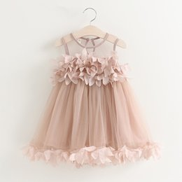 Wholesale Baby Frocks Style - 2017 whosale children summer dresses girl chiffon flower princess party dress cute baby girl petal frocks