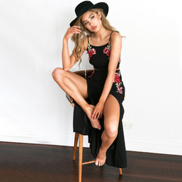 Wholesale Black Knit Skirt Suit - 2017 Women's Set Printing Casual Sleeveless Crop Top Vest+Long Skirt Sexy Rose Black Sleeve Beachwear Two-piece Suit Dress