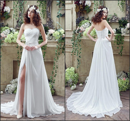 Wholesale Designer Crystal Wedding Gowns Sweetheart - Actual Pictures 2017 Sexy Beach Cheap Wedding Dresses Pleats Sweetheart Lace Up Back Side Split Wedding Gowns Custom Bridal Gowns