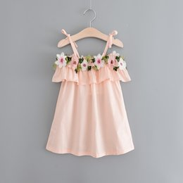 Wholesale Tutus Diamonds Wholesale - Hug Me Girls Dress Kids Clothing 2017 Summer Embroidery Lace Dress Fashion Sleeveless Pearl Diamond Princess Dress FF-120