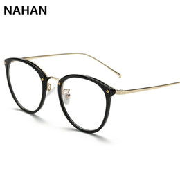 Wholesale Plain Eye Glasses For Men - Wholesale- NAHAN Brand TR90 Round Eyewear Frames Eye Glasses Frames for Women Men Unisex Plain Mirror Eyeglasses Plain Spectacle Frame