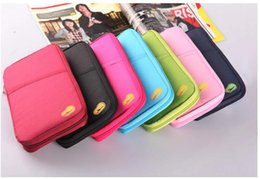 Wholesale Wholesale Cotton Candy Business - 8colors New Passport Holder Organizer Wallet multifunctional document package candy travel wallet portable purse business card holder