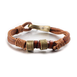 Wholesale Jewelry Clasps Bronze - Vintage Handmade Genuine Leather Double-Layer Bracelets Brand Fashion Punk Cuff Bracelets & Bangle For Men Jewelry With Antique Bronze Clasp