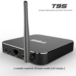 Wholesale Case Youtube - t95 android tv box Amlogic S905x WIFI TV Box Android 6.0 Quad Core Mali-450 metal case 4K