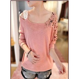 Wholesale Moda Casual Mujer - Wholesale- poleras de mujer moda 2016 casual t shirt women clothes womens long sleeve tops sexy off shoulder top loose tee shirt femme