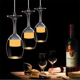 luces de techo para tiendas Rebajas Moderno Crystal LED Wine Glass Ceiling Light Lámpara de la lámpara Bar shop Colgante de Luz Pasillo Home lighting