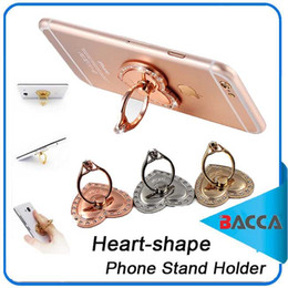 Wholesale Transparent Mobile Phones - Luxury 360 Degree Diamond Heart-shaped Finger Ring Mobile Phone Holder for Iphone8 Samsung note 8 all Smartphone