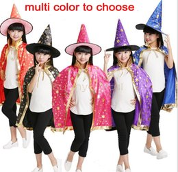 Wholesale Teenage Suits For Boys - Halloween cape + hat pair costume ball five-star cloak suit gifts for kids boys grils witch harry potter hat magic for party fancy ball