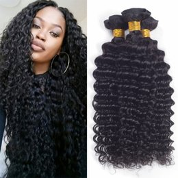 Wholesale Cheap Malaysian Deep Curly - 3Bundles 100g pcs Deep Curly Wave Brazilian Peruvian Malaysian Virgin Hair Weave Cheap Deep Curl Remy Brazilian Human Hair Extensions