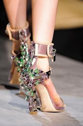 Wholesale chunky gladiator sandals - Summer Luxury Strange Heel Crystal Designer Shoes Woman PVC High Heel Sandals 2017 Padlock Ankle Strap Rhinestone Sandals