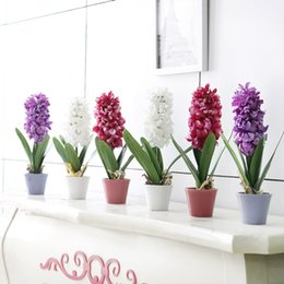 Wholesale Silk Hyacinth Flowers - Wholesale-1Set Artificial Plant Potted Flower Silk Hyacinth Flower Bonsai for Wedding Party Garden Home Decoration 3 Colors
