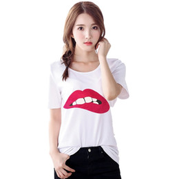 Wholesale Lip Printing - women's t shirts Sex Green&Red Lips print fashion brand new t-shirt short sleeve o-neck tops tees plus size white casual NV35 RF