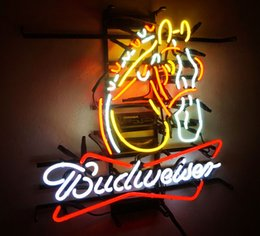"Wholesale Lighted Poster Sign - 17"" x 14""Horse BUD Beer Bar Pub NightClub Wall Decor Neon Sign Light Room Poster"