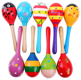 Wholesale Maracas Instrument - Wholesale- 0ne-pieces at Random Colorful Wooden Maracas Baby Kids Musical Instrument Rattle Shaker Party Toy