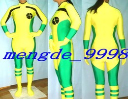 Vestiti sexy di lycra online-Giallo / verde Lycra Spandex Rogue Suit Catsuit Costumi Unisex X-Men Rogue Costumes Sexy Rogue X-Men Body Suit Halloween Cosplay Suit M176