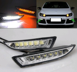Wholesale Scirocco Turn Light - For Volkswagen Scirocco 2010- 2015 Turn Yellow Signal Style Relay Waterproof 12V Car LED DRL Daytime Running Light Daylight