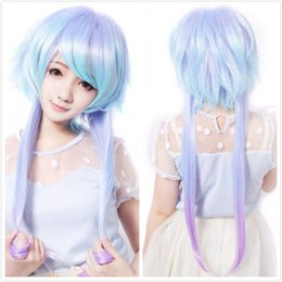 Wholesale Sexy Lolita Cosplay - ePacket free shipping Sexy Women Long Lolita Fluffy Straight Hair Oblique Bangs Full Cosplay Wig+Cap