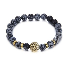 Wholesale Leopard Agate - 2017 new trendy gold silver color lion leopard head & tiger eye agate stone handmade bracelets for men gifts jewelry wholesale