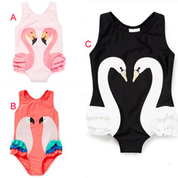 Wholesale Parrot Babies - 3 Color Girls INS Flamingo One-Pieces Swimsuit children cartoon ins swan parrot sling baby swimming 1~7years B001