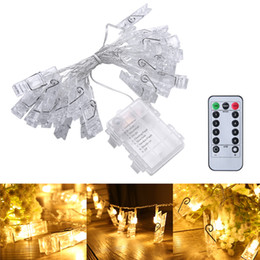 Wholesale Remote Control Pictures - 5M 40 LED Photo Hanging Clips String Light Battery Operated Remote Control Dimmable Photo Display Starry Lamp with 8 Modes for Hang Picture