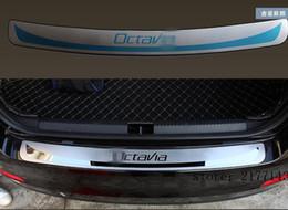 Wholesale Rear Bumper Plate - Pad on rear bumper case for Skoda Octavia 2015 2016 2017 Car Rear Bumper Decoration Pedal Car Trunk Door Sill Plate Car styling