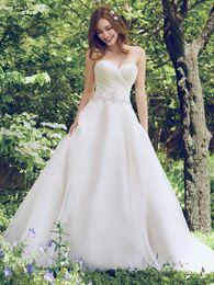 Wholesale Strapless Sweetheart Empire - 2017 New Sweetheart Strapless Wedding Dresses Applique Beads Organza Bridal Gowns Backless A-Line Garden Wedding Dress Zipper Button