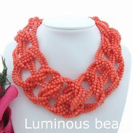 "Wholesale Green Orange Statement Necklace - FC071410 19"" 9 Strands Orange Coral Statement Necklace"