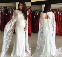 Wholesale Nude Open Back Dress - Gorgeous Sheath Evening Dresses With Wrap Jacket Lace And Satin Jewel Cheap Prom Dress Long Open Back Sexy Bridal Guest Gowns Vestidos