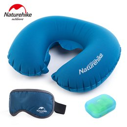 Wholesale Mattress Kit - Wholesale- Naturehike Pillpw Portable Folding Air Inflatable Travel Kits Pillow+Eye Blindfolds +Earplug 3 PCS In One Set Travel Necessity