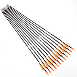 """Arco de fibra de vidro recurvo on-line-12 pçs / lote 31 """"Spine 700 com Laranja Pena de Fibra De Vidro Seta para Arco Recurvo Flecha ou Longo Arco Prática / caça"""