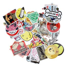 Wholesale Motorcycle Laptop - 50pcs Mixed Single Sticker Waterproof Home Decor Doodle Laptop Motorcycle Bike Travel Case Decal Car Accessories CDE_00F