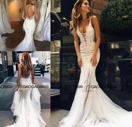 Wholesale Couture Long Sleeve Wedding Gowns - Pallas Couture 2017 Lace Floral Long Train Mermaid Beach Wedding Dresses Custom Make V-neck Full length Fishtail Bridal Gowns