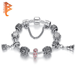 Wholesale Leather Pendant Box - BELAWANG Silver Pink Crystal Bead Charm Bracelet with Safety Chain The Eiffel Tower & Box Pendant Snowflake Beads Women Bracelet for Jewelry