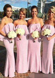 Wholesale Cheapest Bridesmaids Dresses - Cheapest Boho Summer Chiffon Bridesmaid Dresses 2017 Elegant Strapless Backless Long Maid of Honor Gowns Pleats Wedding Guest Evening