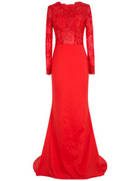Wholesale Collections Photos - Collection Red Sheath Long Sleeve Heavy Embroidered Evening Dress with Sweep Train 2017 Long Evening Party Gowns