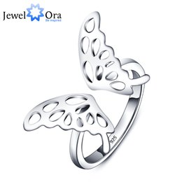 Wholesale Butterflies Adjustable Rings - q228 Adjustable Butterfly Accessories 925 Sterling Silver Rings For Women New 2016 Fashion Party Jewelry (JewelOra RI101802)